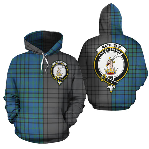 Matheson Hunting Ancient Clan Half Of Me New Version Crest Tartan Hoodie