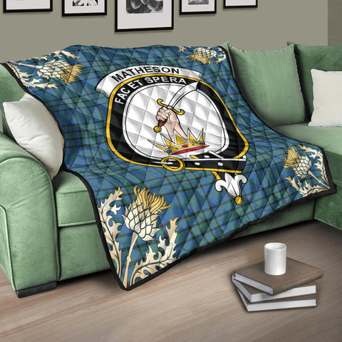 Image of Matheson Hunting Ancient Clan Crest Tartan Scotland Thistle Gold Pattern Premium Quilt K9