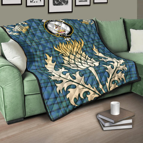 Image of Matheson Hunting Ancient Clan Crest Tartan Scotland Thistle Gold Royal Premium Quilt K9