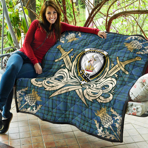 Image of Matheson Hunting Ancient Clan Crest Tartan Scotland Thistle Symbol Gold Royal Premium Quilt K9