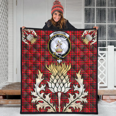Image of Matheson Modern Clan Crest Tartan Scotland Thistle Gold Royal Premium Quilt