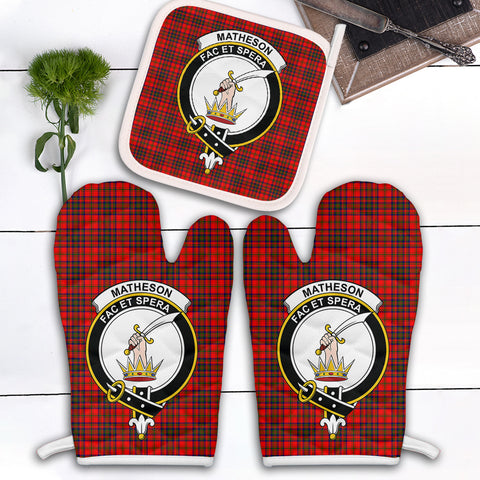 Matheson Modern Clan Crest Tartan Scotland Oven Mitt And Pot-Holder (Set Of Two)