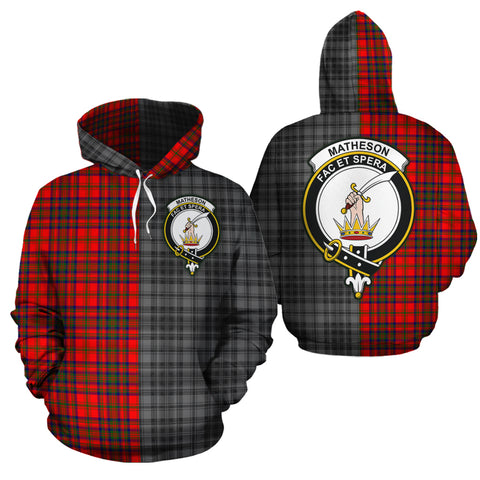 Matheson Modern Clan Half Of Me New Version Crest Tartan Hoodie