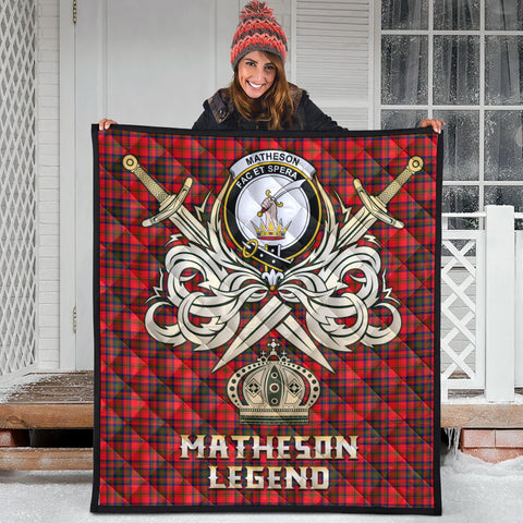 Matheson Modern Clan Crest Tartan Scotland Clan Legend Gold Royal Premium Quilt