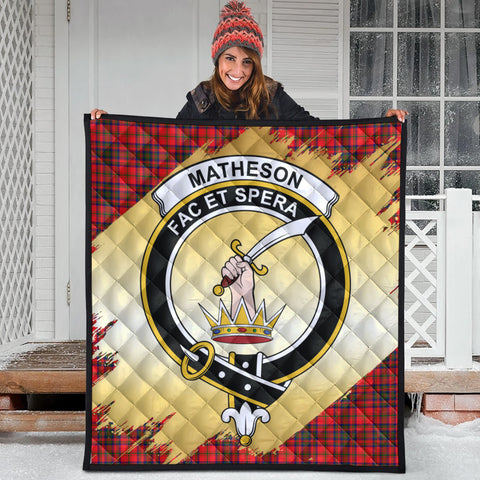 Image of Matheson Modern Clan Crest Tartan Scotland Gold Royal Premium Quilt