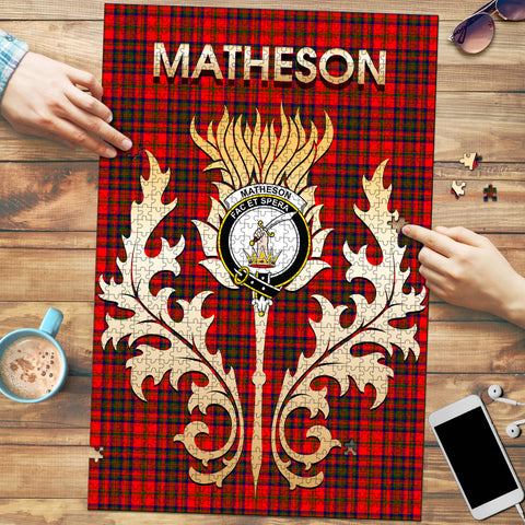 Image of Matheson Modern Clan Name Crest Tartan Thistle Scotland Jigsaw Puzzle