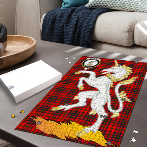 Image of Matheson Modern Clan Crest Tartan Unicorn Scotland Jigsaw Puzzle