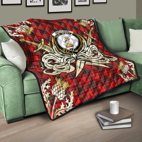 Image of Matheson Modern Clan Crest Tartan Scotland Thistle Symbol Gold Royal Premium Quilt K9