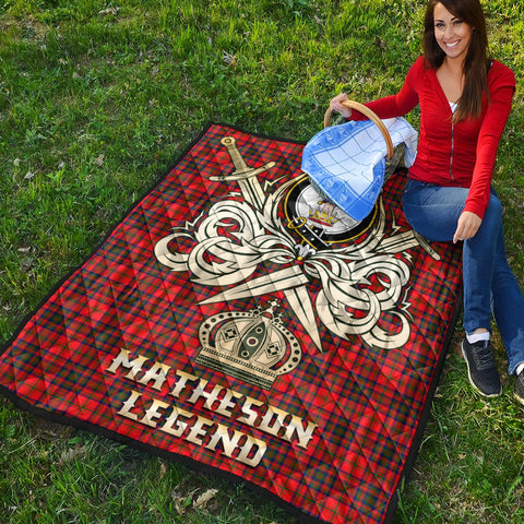 Image of Matheson Modern Clan Crest Tartan Scotland Clan Legend Gold Royal Premium Quilt K9