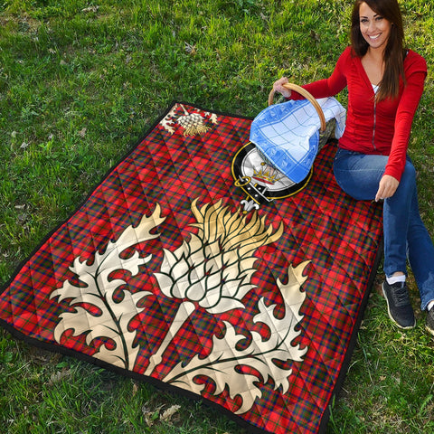 Image of Matheson Modern Clan Crest Tartan Scotland Thistle Gold Royal Premium Quilt K9
