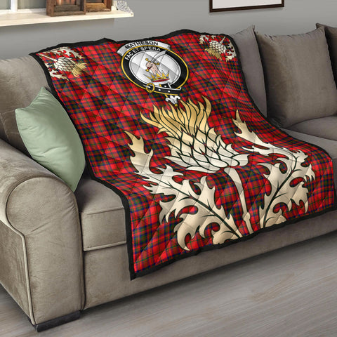 Matheson Modern Clan Crest Tartan Scotland Thistle Gold Royal Premium Quilt K9