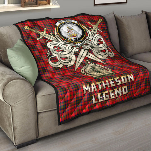 Matheson Modern Clan Crest Tartan Scotland Clan Legend Gold Royal Premium Quilt K9