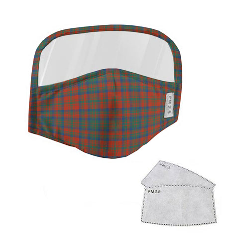 Matheson Ancient Tartan Face Mask With Eyes Shield - Orange & Green  Plaid Mask TH8