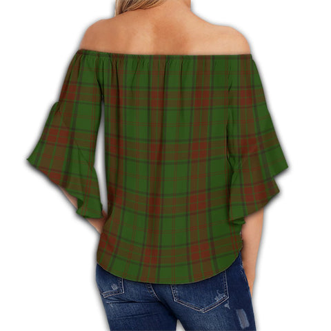Maxwell Hunting Tartan Crest Off Shoulders Wrap Waist Top