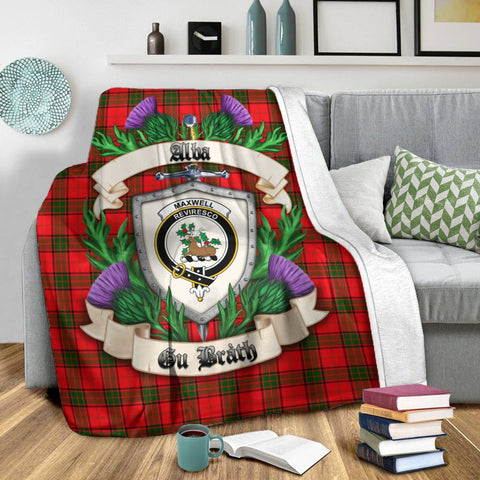 Maxwell Modern Crest Tartan Blanket Thistle  | Tartan Home Decor | Scottish Clan