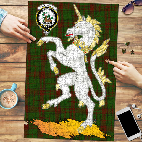 Image of Maxwell Hunting Clan Crest Tartan Unicorn Scotland Jigsaw Puzzle