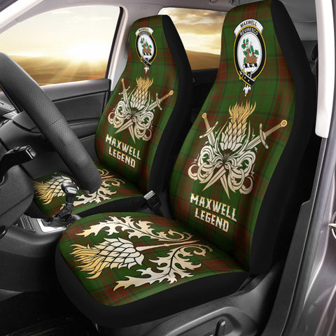 Car Seat Cover Maxwell Hunting Clan Crest Gold Thistle Courage Symbol
