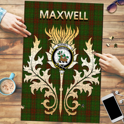 Image of Maxwell Hunting Clan Name Crest Tartan Thistle Scotland Jigsaw Puzzle