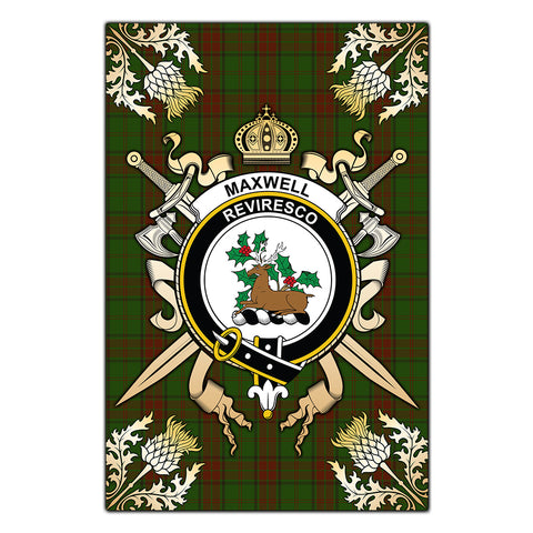 Garden Flag Maxwell Hunting Clan Crest Sword Gold Thistle