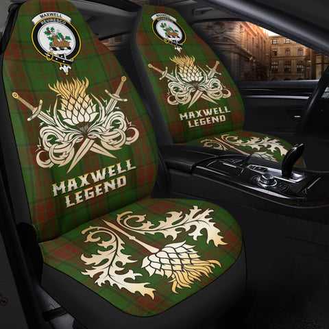 Car Seat Cover Maxwell Hunting Clan Crest Gold Thistle Courage Symbol K9