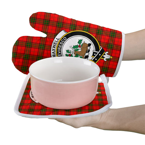 Image of Maxwell Modern Clan Crest Tartan Scotland Oven Mitt And Pot-Holder (Set Of Two)