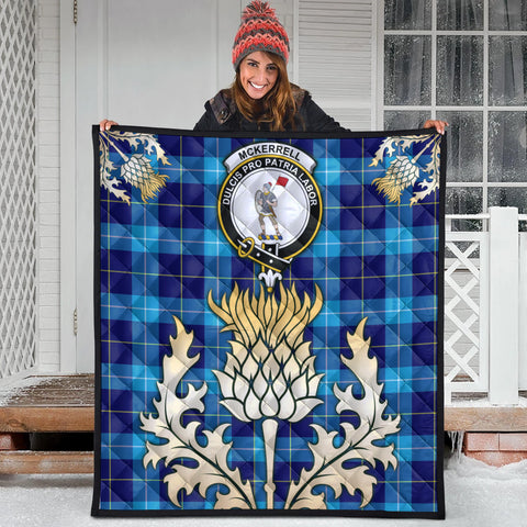 Image of McKerrell Clan Crest Tartan Scotland Thistle Gold Royal Premium Quilt