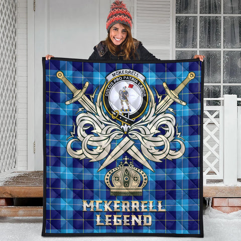 McKerrell Clan Crest Tartan Scotland Clan Legend Gold Royal Premium Quilt