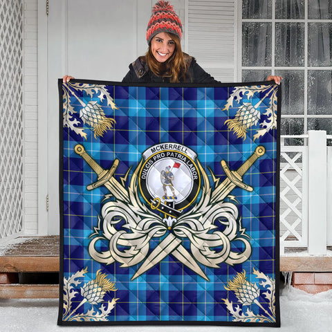 Image of McKerrell Clan Crest Tartan Scotland Thistle Symbol Gold Royal Premium Quilt
