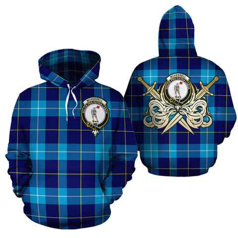 McKerrell Clan Crest Tartan Scottish Gold Thistle Hoodie