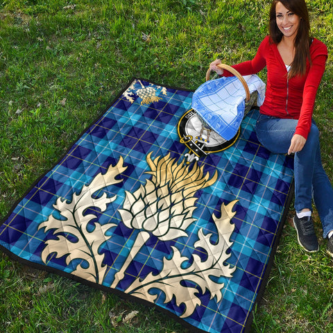 Image of McKerrell Clan Crest Tartan Scotland Thistle Gold Royal Premium Quilt K9