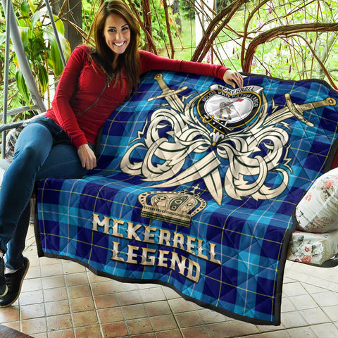 McKerrell Clan Crest Tartan Scotland Clan Legend Gold Royal Premium Quilt K9
