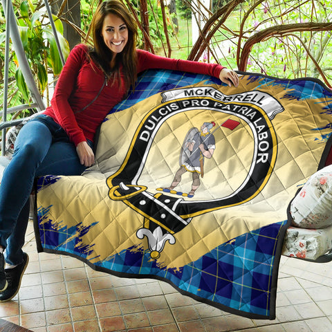Image of McKerrell Clan Crest Tartan Scotland Gold Royal Premium Quilt K9