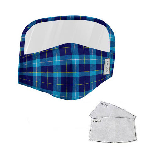 McKerrell Tartan Face Mask With Eyes Shield - Blue  Plaid Mask TH8