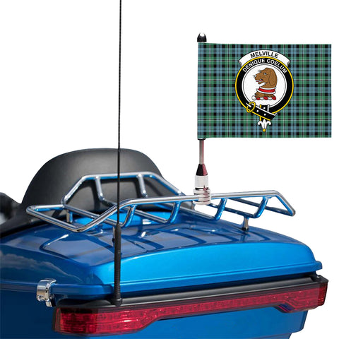 Image of Melville Clan Crest Tartan Motorcycle Flag