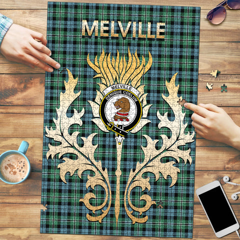 Image of Melville Clan Name Crest Tartan Thistle Scotland Jigsaw Puzzle
