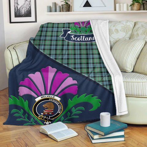 Melville Crest Tartan Blanket Scotland Thistle | Tartan Home Decor | Scottish Clan