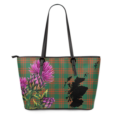 Menzies Green Ancient Tartan Leather Tote Bag Thistle Scotland Maps A91