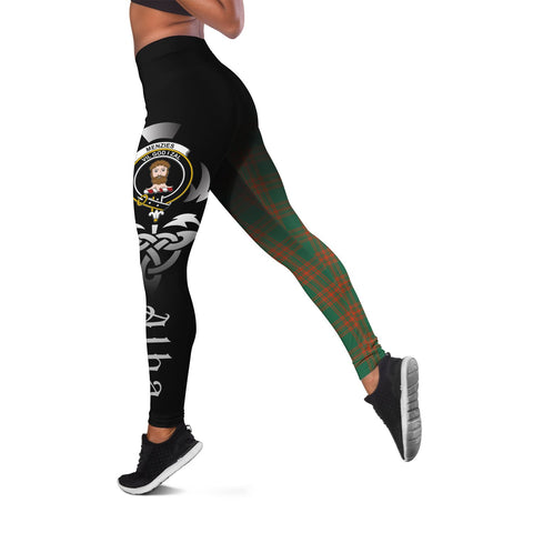 Menzies Green Ancient Crest Tartan Alba Celtic Leggings | Over 500 Tartans | Special Custom Design