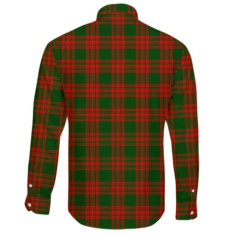 Menzies Green Modern Tartan Clan Long Sleeve Button Shirt A91