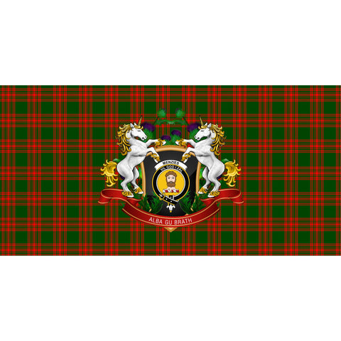 Menzies Green Modern Crest Tartan Tablecloth Unicorn Thistle A30