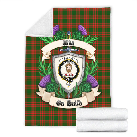 Menzies Green Modern Crest Tartan Blanket Thistle  | Tartan Home Decor | Scottish Clan