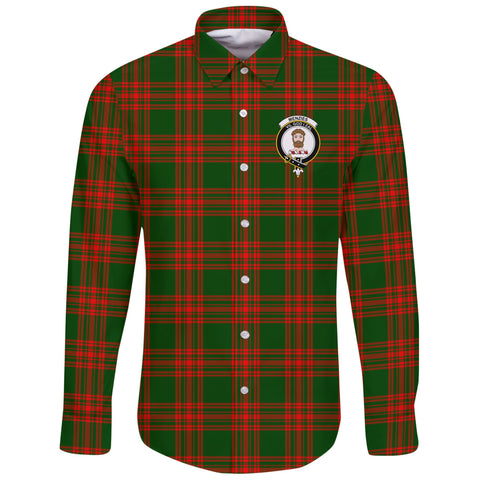 Menzies Green Modern Tartan Clan Long Sleeve Button Shirt | Scottish Clan