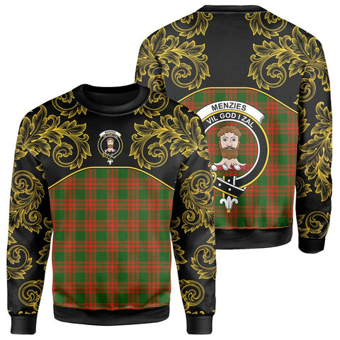 Menzies Green Modern Tartan Clan Crest Sweatshirt - Empire I - HJT4