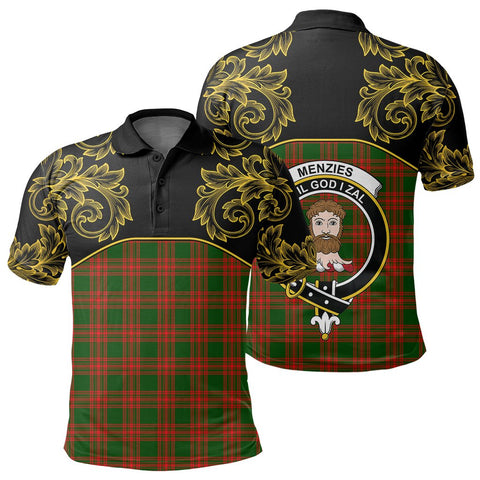 Menzies Green Modern Tartan Clan Crest Polo Shirt - Empire I - HJT4