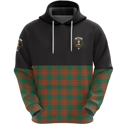 Menzies Green Ancient Clan Hoodie Half Of Tartan