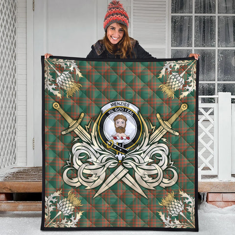 Menzies Green Ancient Clan Crest Tartan Scotland Thistle Symbol Gold Royal Premium Quilt