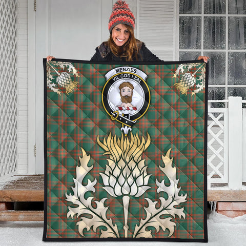 Menzies Green Ancient Clan Crest Tartan Scotland Thistle Gold Royal Premium Quilt