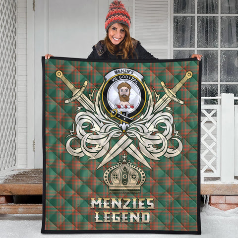 Menzies Green Ancient Clan Crest Tartan Scotland Clan Legend Gold Royal Premium Quilt