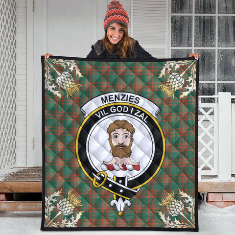 Menzies Green Ancient Clan Crest Tartan Scotland Thistle Gold Pattern Premium Quilt