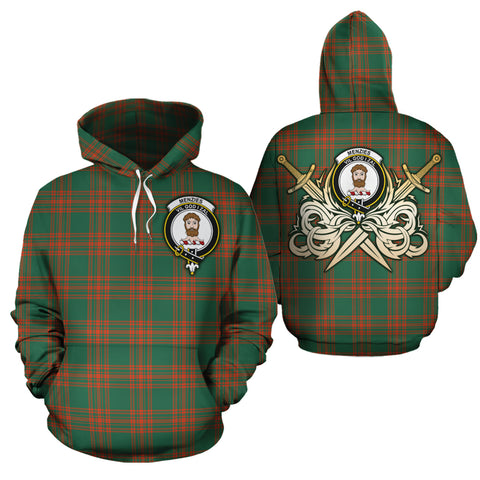 Menzies Green Ancient Clan Crest Tartan Scottish Gold Thistle Hoodie